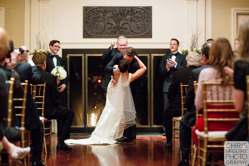 Central Illinois Wedding Photographer first kiss dip