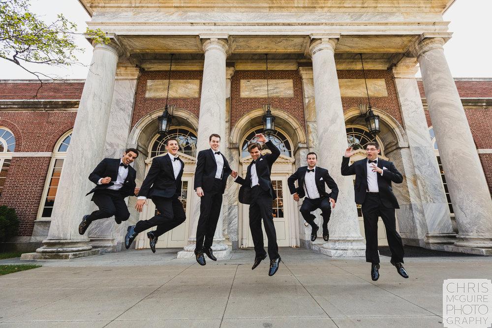 groomsmen jumping