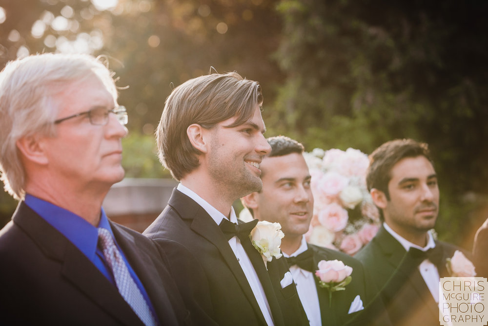 groom sees bride at wedding ceremony