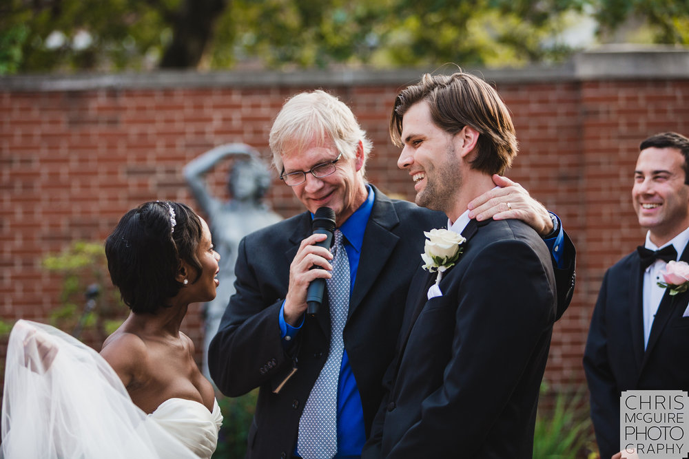 wedding ceremony laughs