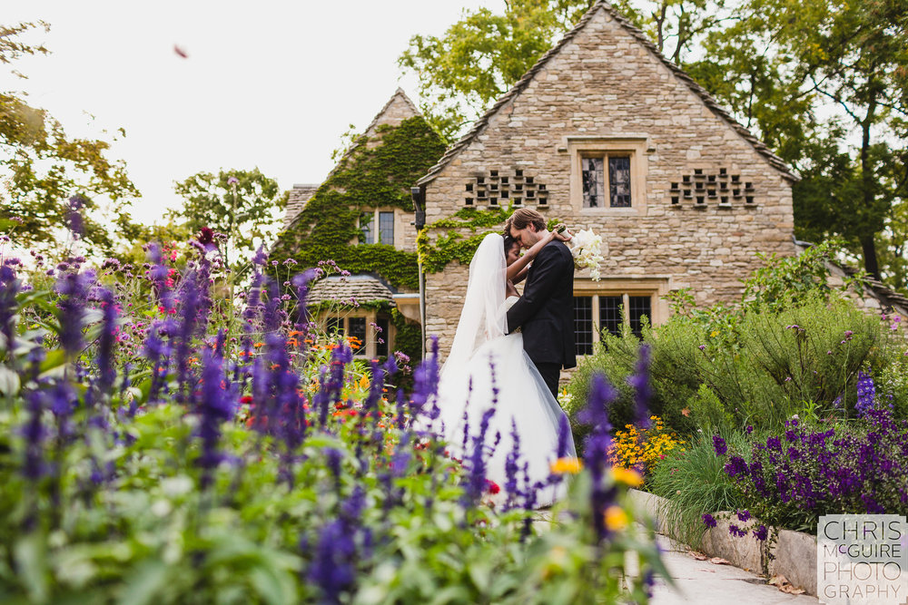 bride groom stone cottage flowers