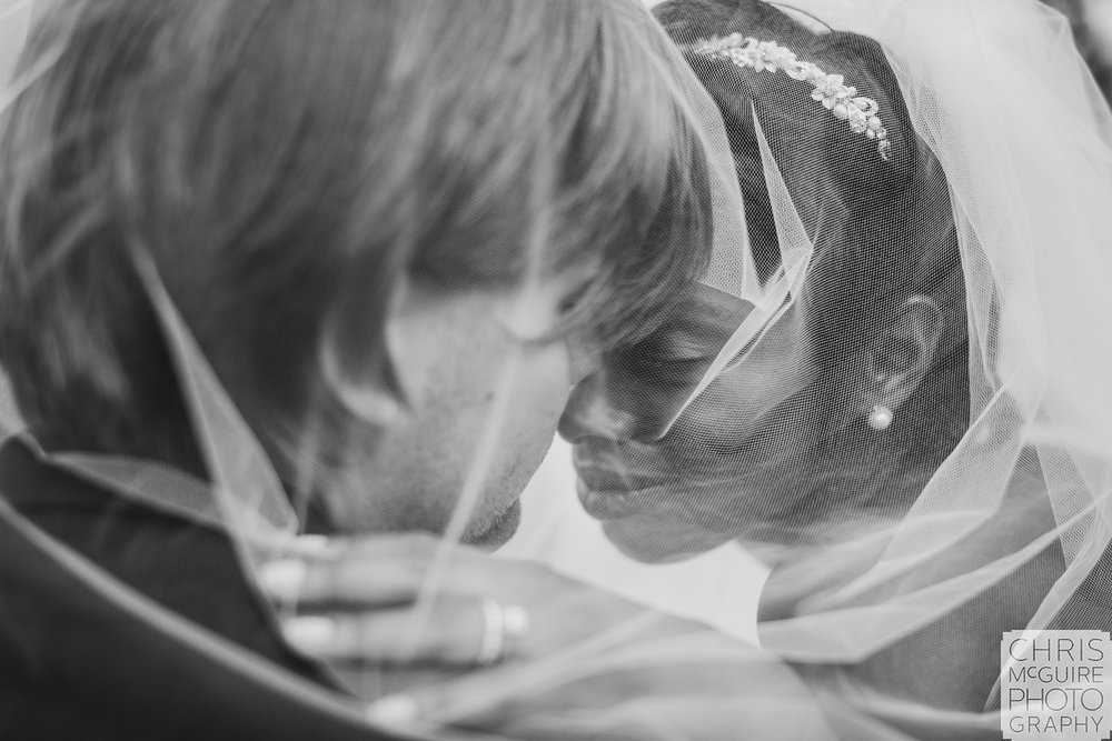 bride groom portrait under veil
