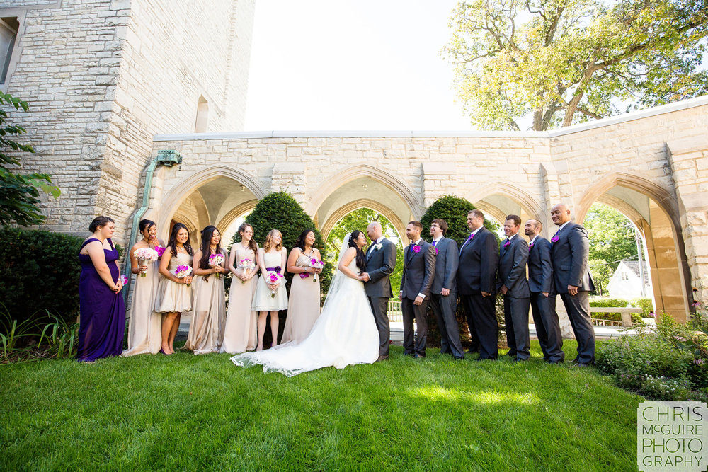 wedding party at church in Chicago