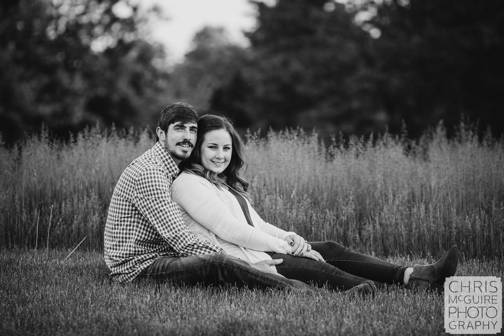 Peoria engagment portrait with grass