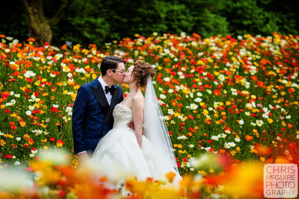 Chicago Botanic Garden Bride and Groom with Poppies