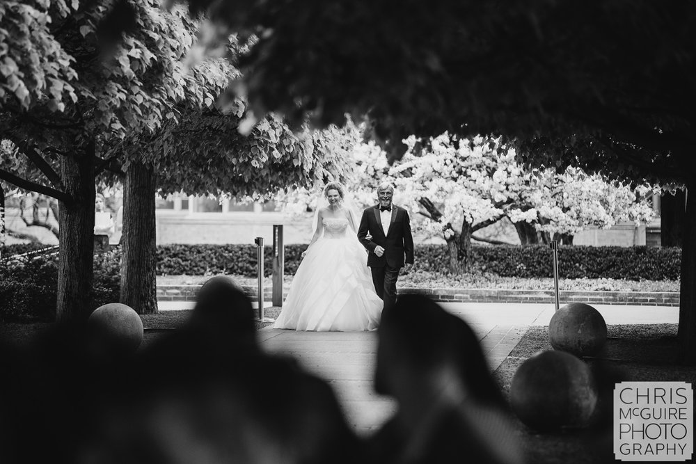 bride and father at Chicago Botanic Gardens wedding