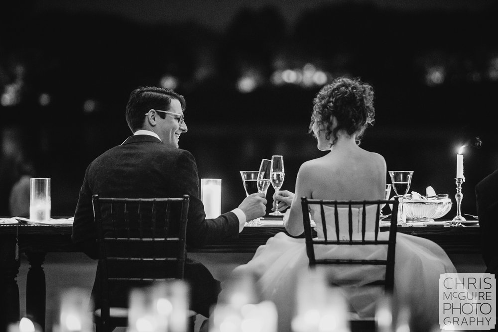 bride and groom toast at Chicago Botanic Gardens wedding reception