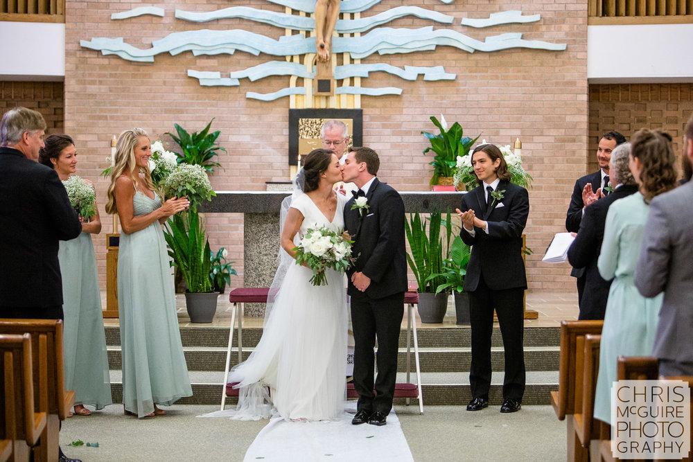 bride groom kiss at Peoria Wedding