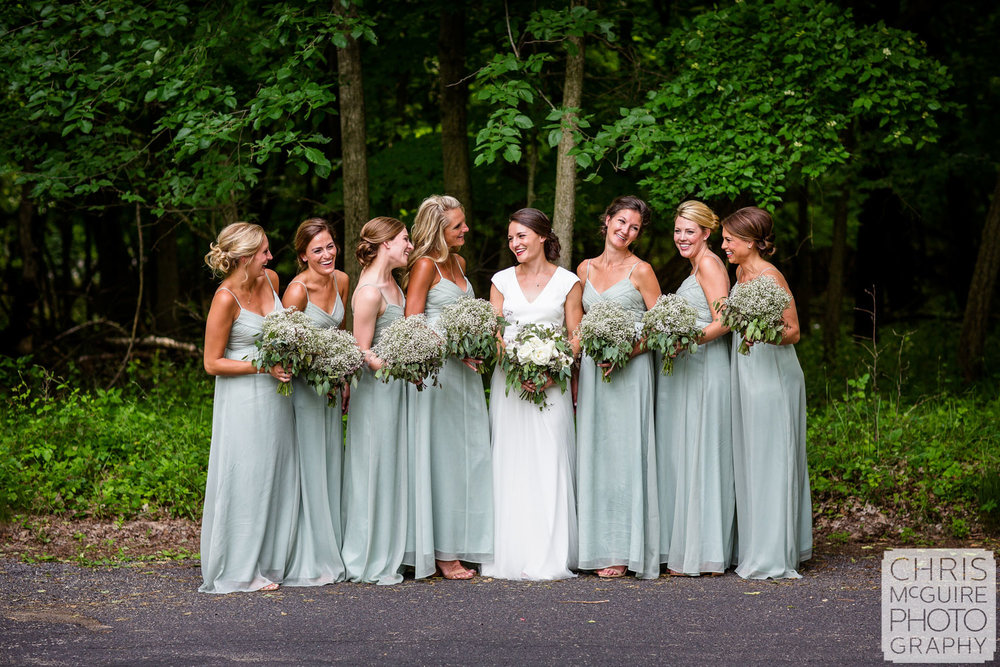 bride and bridesmaids at Forest Park Nature Center peoria il