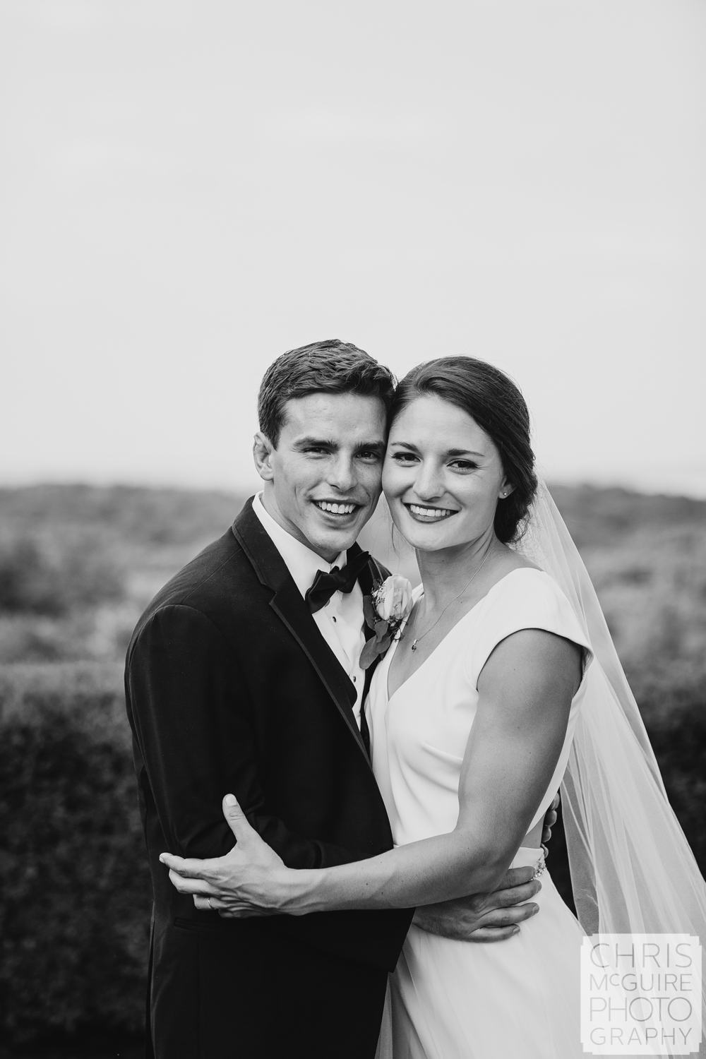bride and groom portrait in black and white
