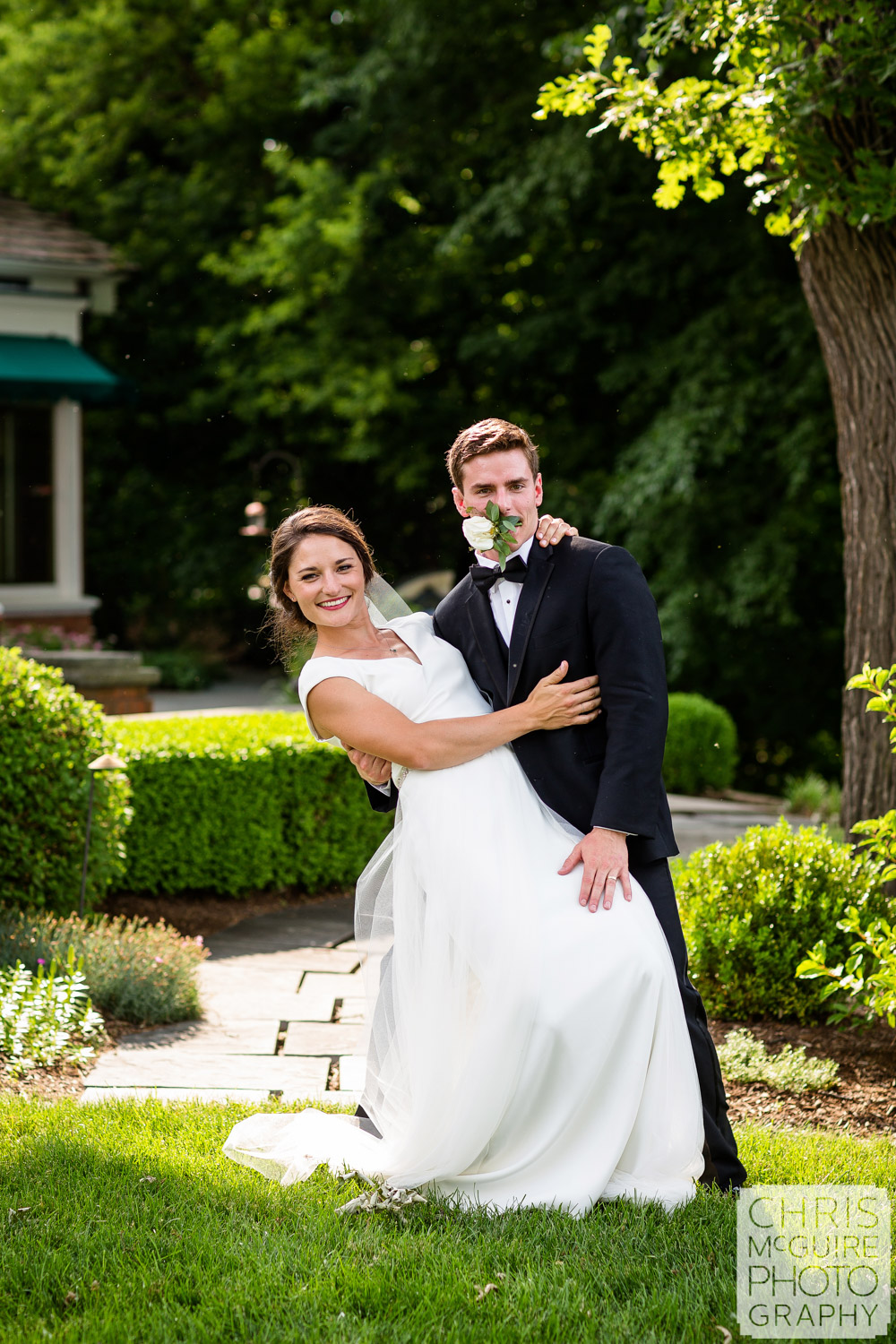 fun bride and groom portrait midwest