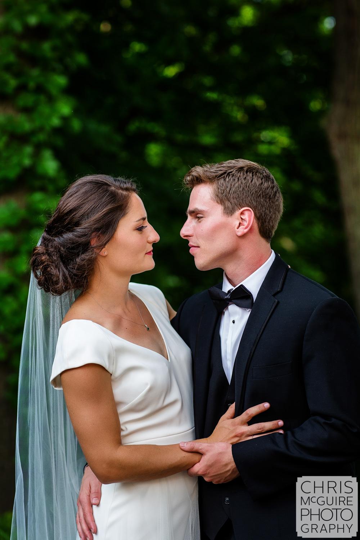 romantic portrait of bride and groom in Peoria il