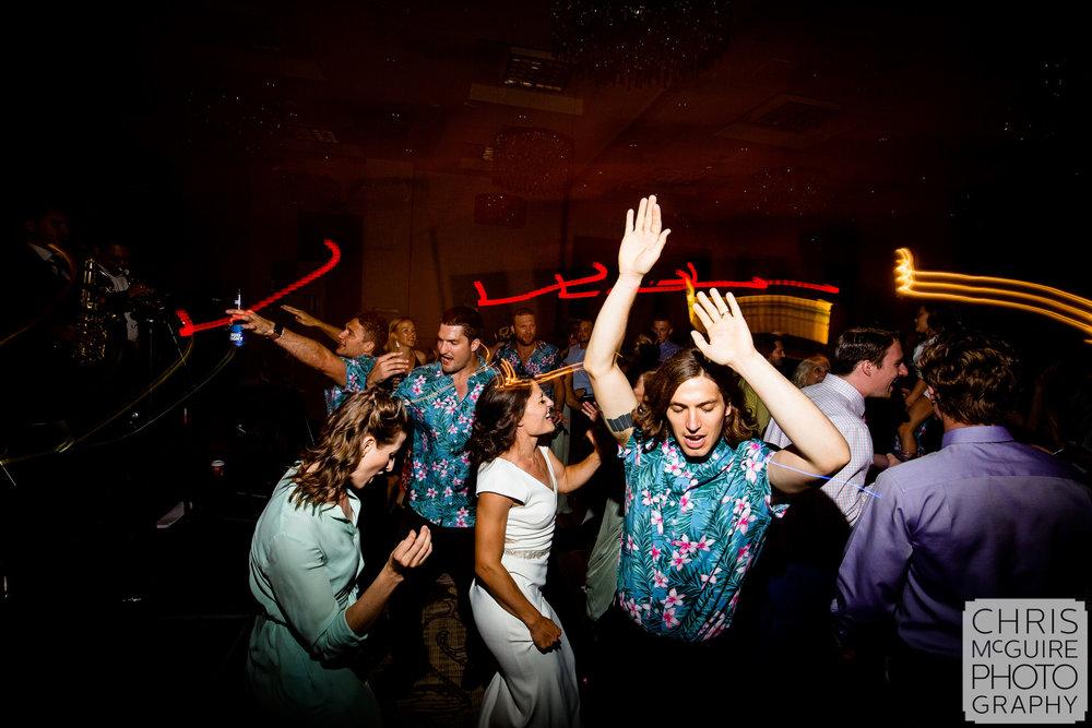 wedding dancefloor with hawaiian shirts