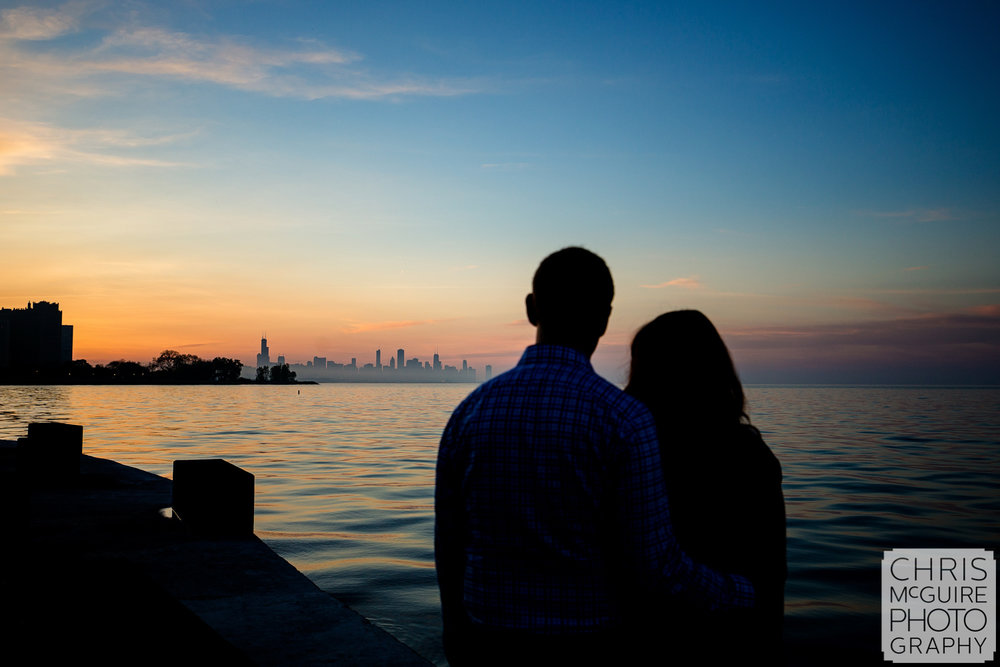 couple with Chicago skyline at sunset