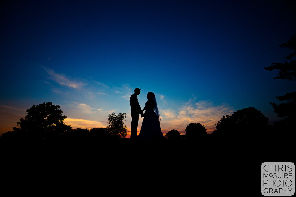 Central Illinois Wedding Portrait at sunset