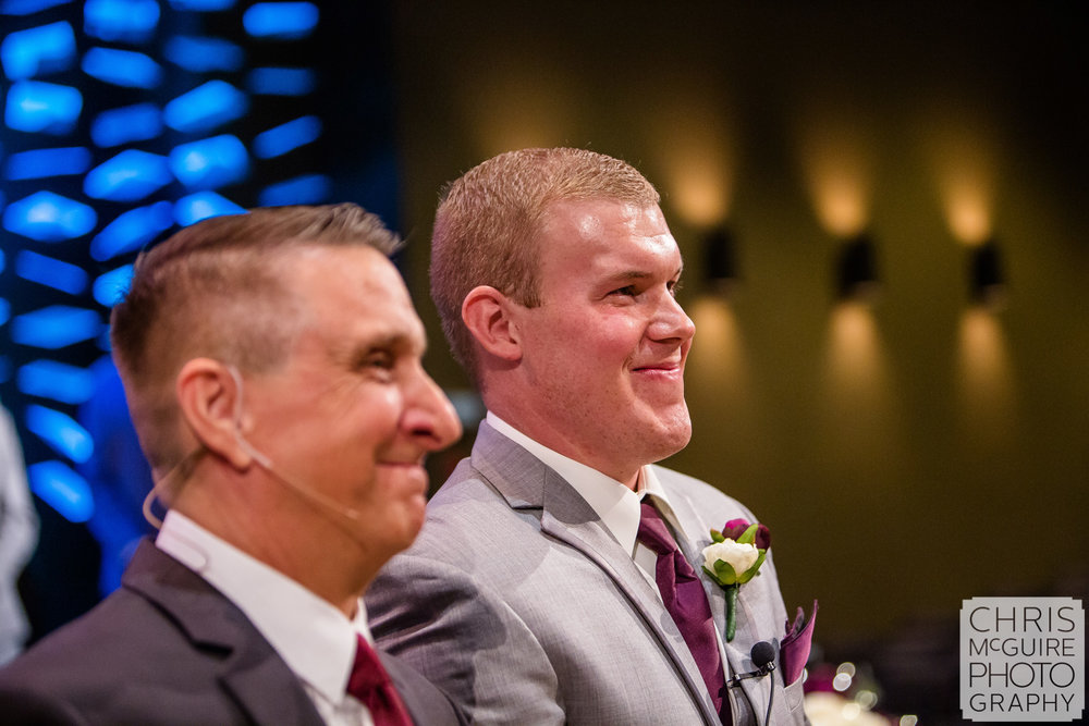 groom sees bride during wedding ceremony