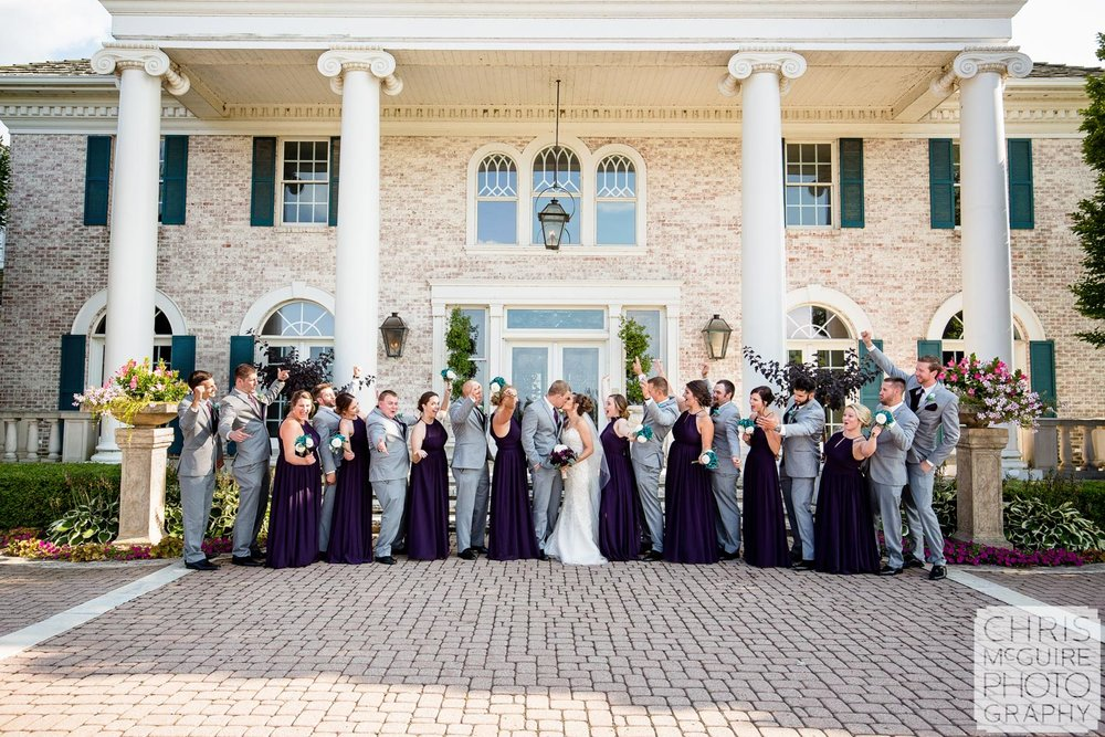 wedding party at Queenwood Mansion in Morton IL