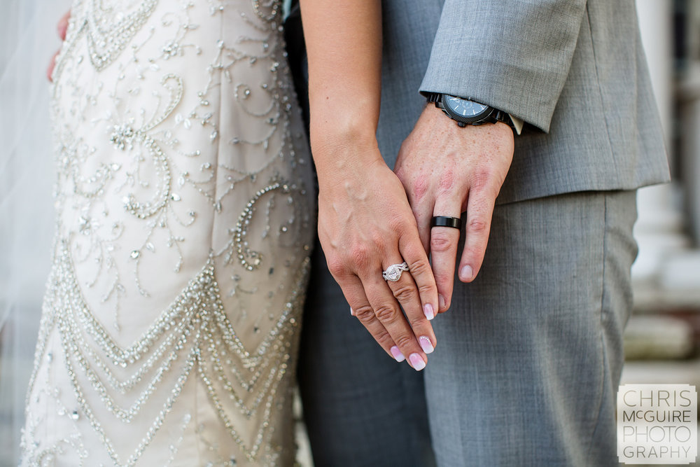 bride and groom with wedding rings