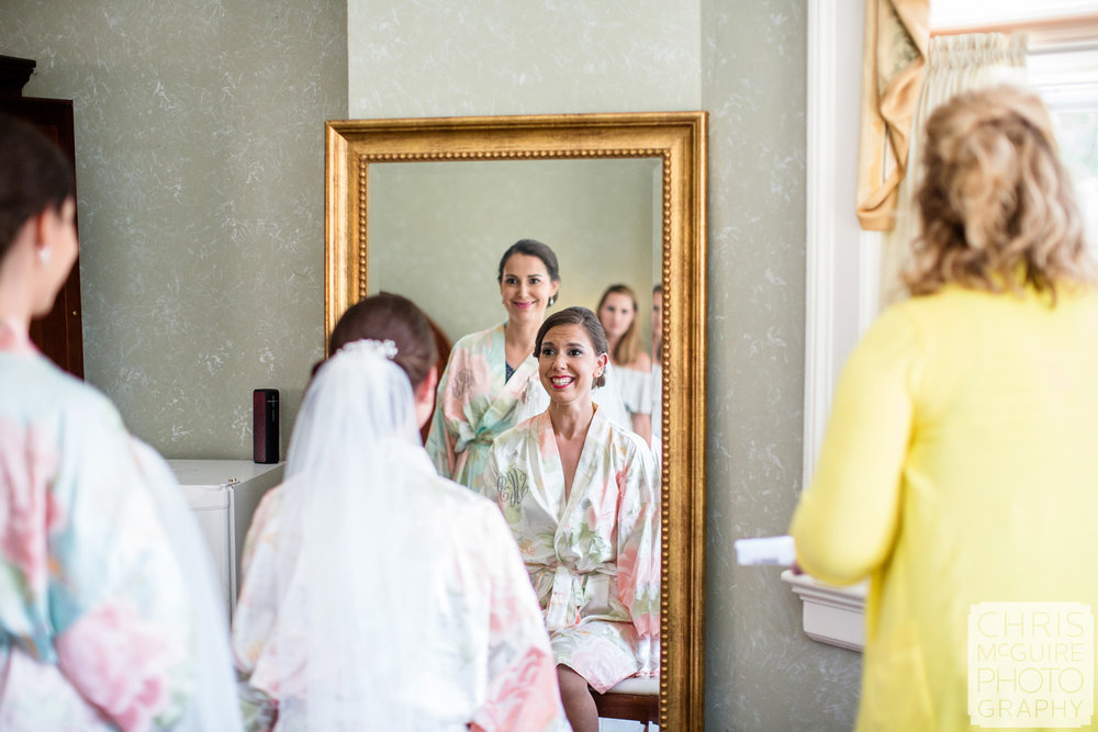bride getting ready at Allerton Mansion