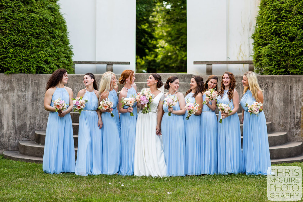 Allerton Park Wedding bridesmaids in blue