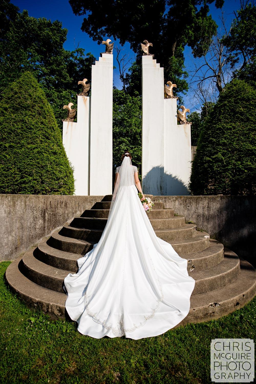 bride in sunken garden allerton park