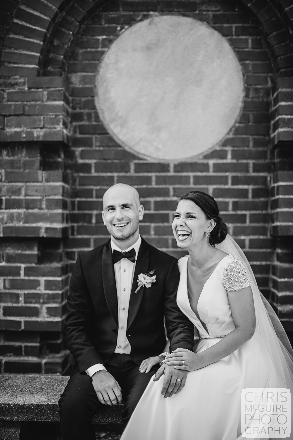 bride groom laugh at Allerton Park wedding