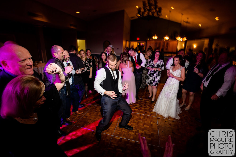 Air guitar at Central Illinois wedding