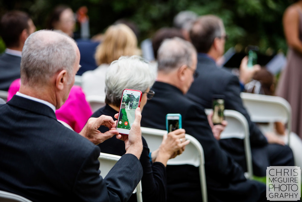 Wedding guests with camera phones