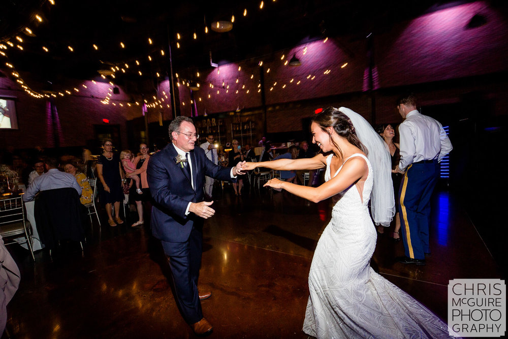Bride dances with father at Warehouse on State Wedding Reception