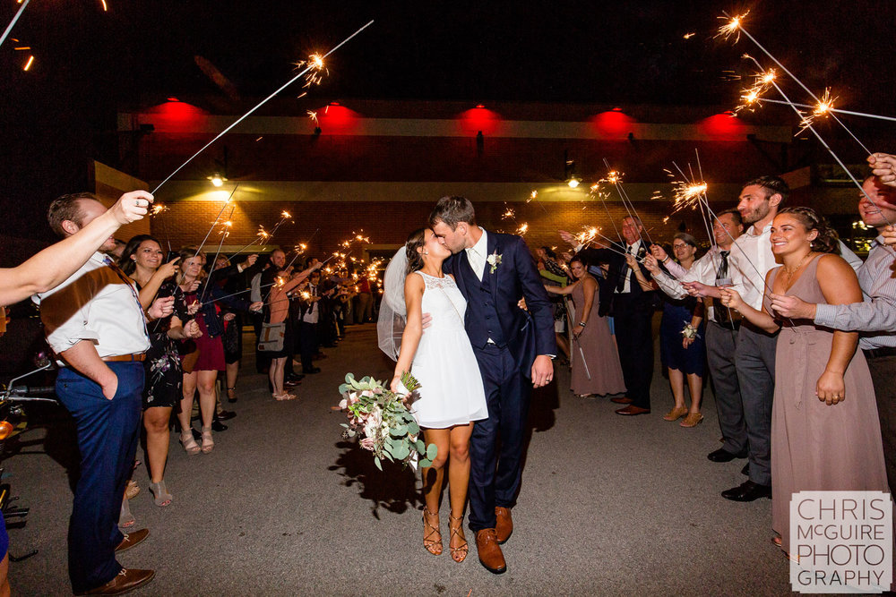 Wedding Sparkler Exit Kiss at Warehouse on State
