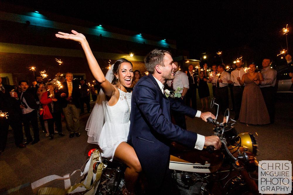 Wedding Sparkler Motorcycle Exit, Peoria Wedding Photography