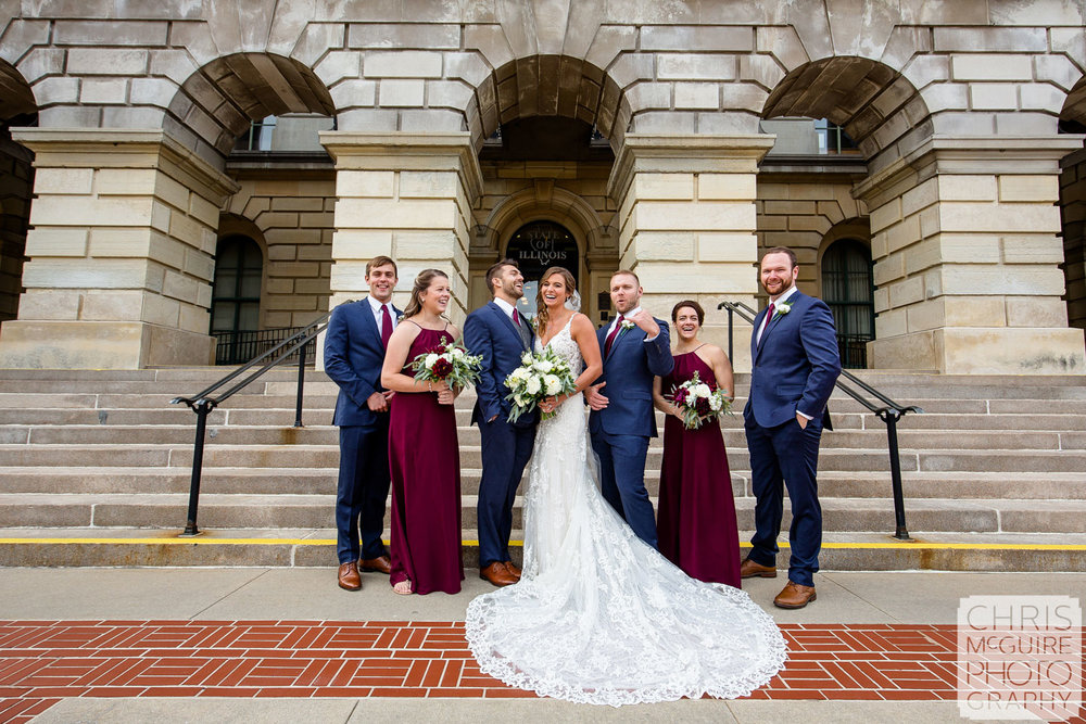 Wedding Party at Illinois State Capitol in Springfield
