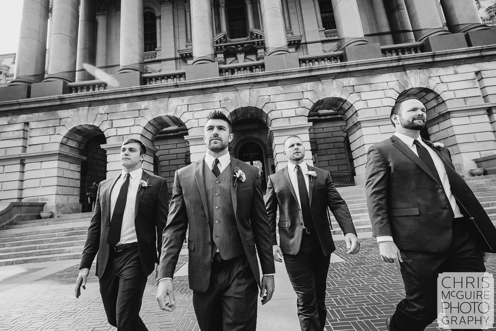 Groom and groomsmen at Illinois State Capitol in Springfield