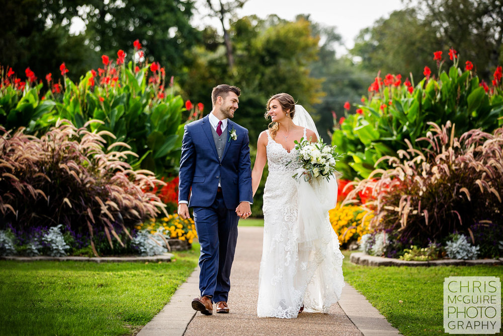 Bride and groom at Washington Park in Springfield Illinois