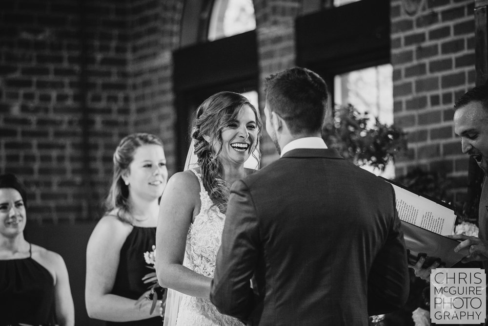 Bride laughs at Illinois State Fairgrounds Wedding