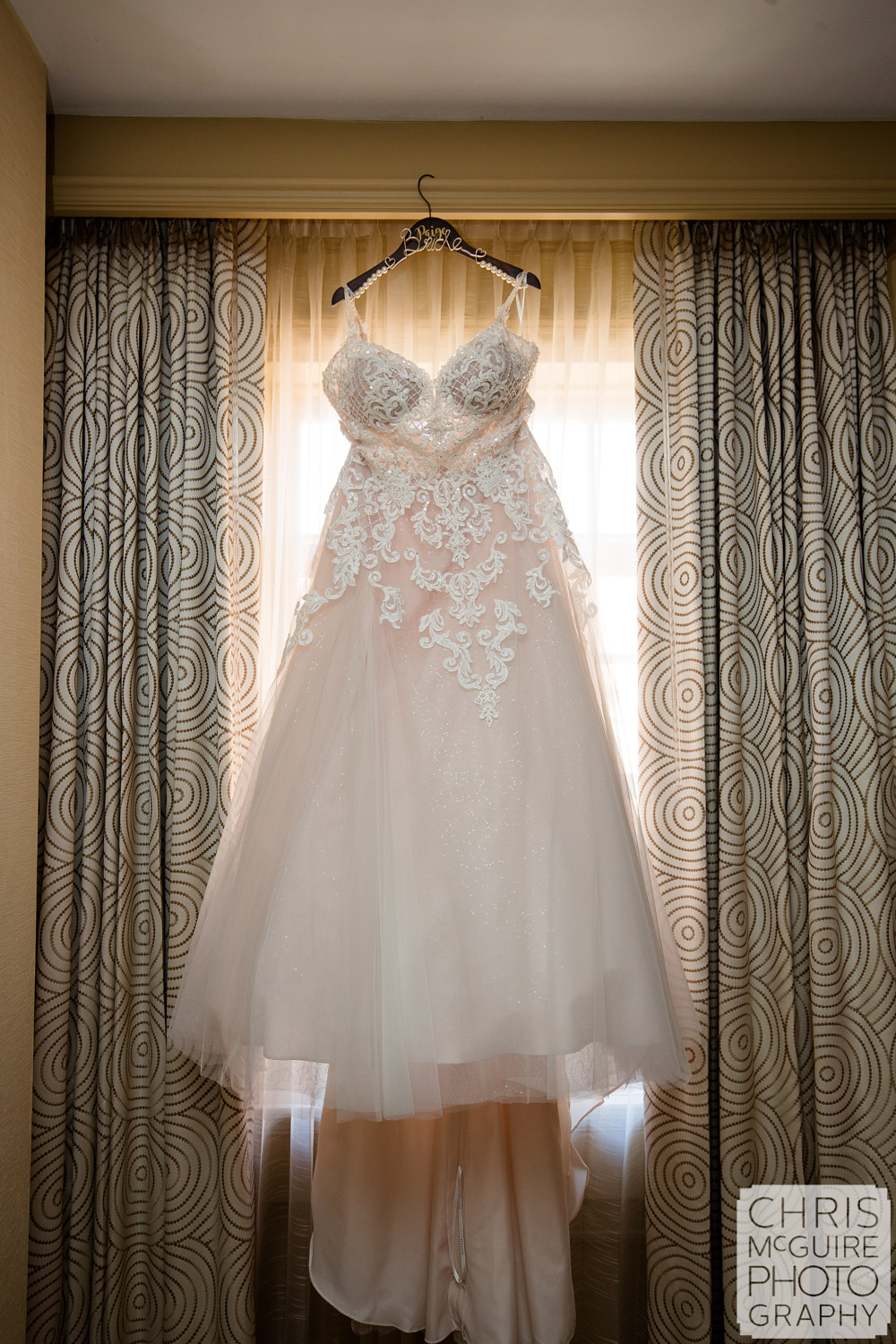 Wedding dress hanging at Pere Marquette