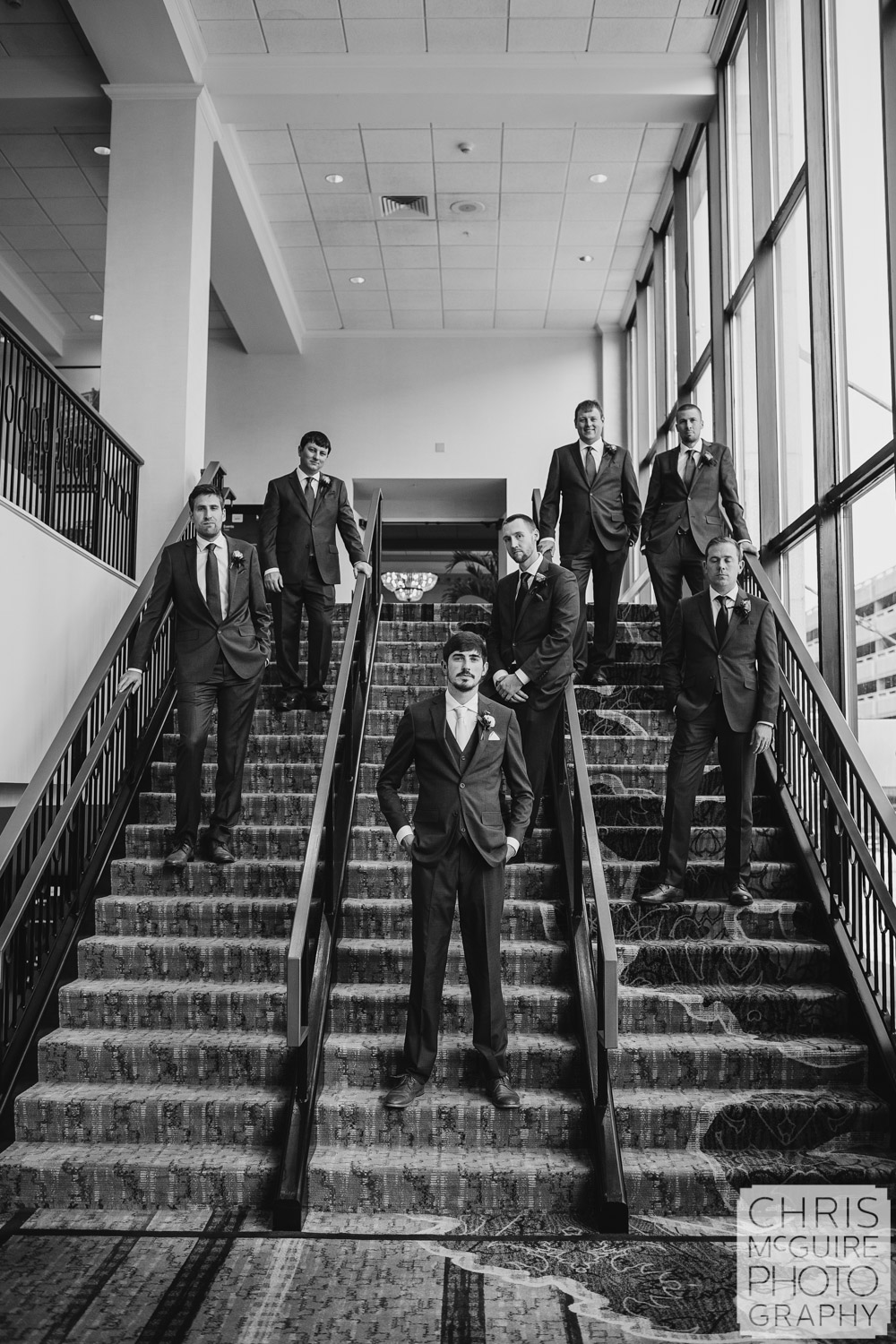 Groom and groomsmen at Peoria Pere Marquette