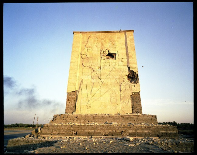 Saddam statue south of Baghdad, June, 2003.