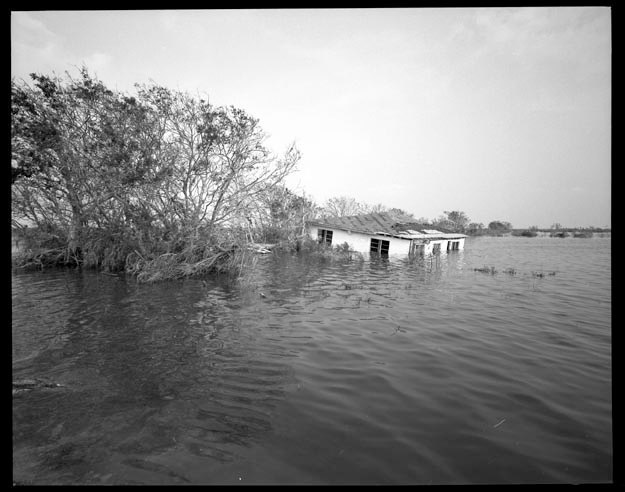 Submerged house in Cameron Parish Louisiana, September 27, 2005.