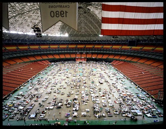 Evacuees from New Orleans at the Astrodome in Houston. Approximately 4,000 evacuees remained housed in the Astrodome, down from more than 25,000 the first week.