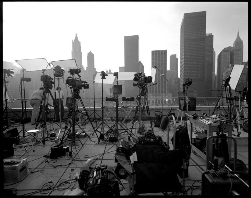 Waiting for the ceremony to begin for the one year memorial of the September 11 attacks in lower Manhattan, September 11, 2002. 6×7 medium format film scan.