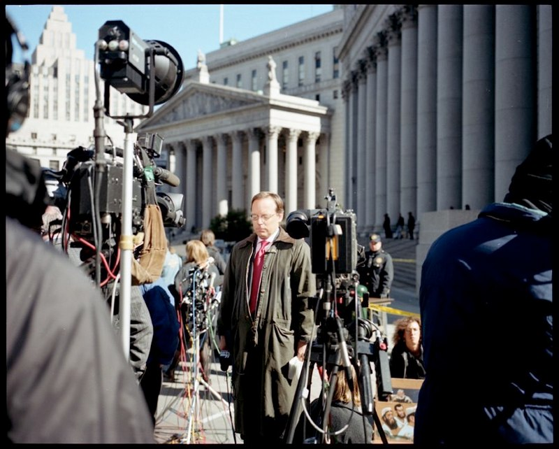 Press wait outside the court house in New York City for sentencing of four followers of Osama Bin Laden who were convicted for the bombing of the US Embassies in Kenya and Tanzania in 1998. The sentencing was to take place on September 11, 2001, but was postponed when the World Trade Centers were attacked. October 18, 2001.