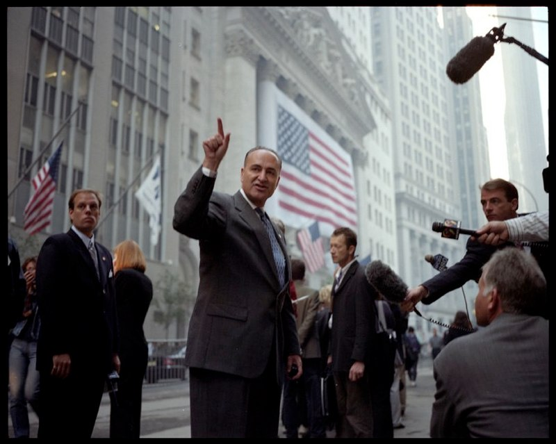 Senator Schumer addresses the press at the reopening of the stock market in lower Manhattan on September 17, 2001 after the attacks on the World Trade Center on September 11, 2001.