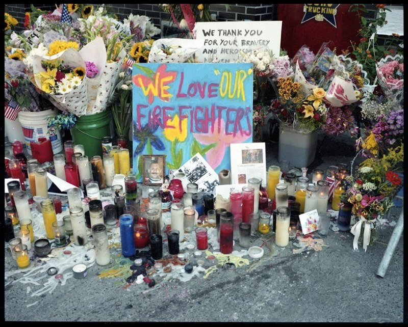 Makeshift memorial outside firehouse in lower Manhattan, September 17, 2001.