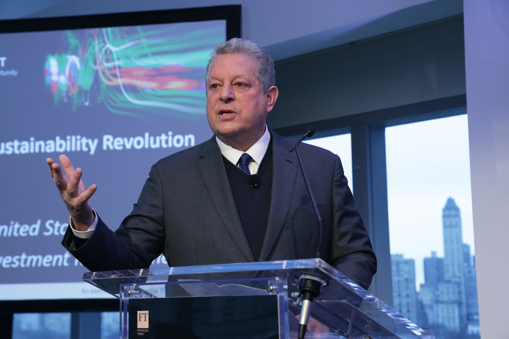 Al Gore speaks at a Financial Times Live event, Spring 2018.