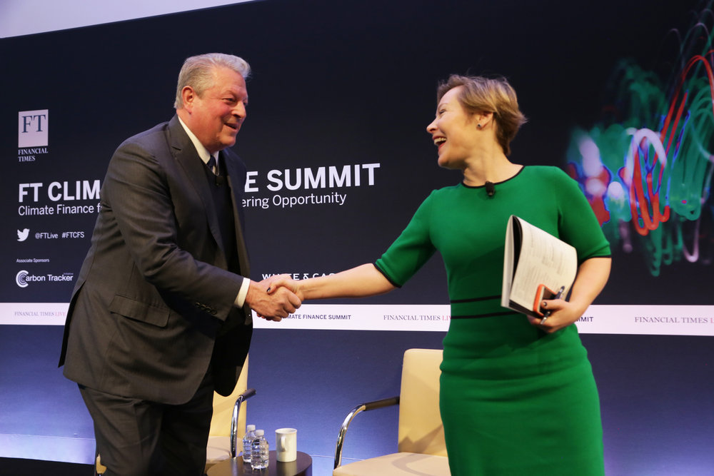Gillian Tett, Managing Editor of the Financial Times, interviews Al Gore at an FT Live event, Spring 2018.