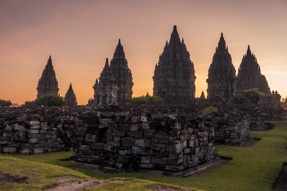 The Hindu temple Prambanan after sunrise