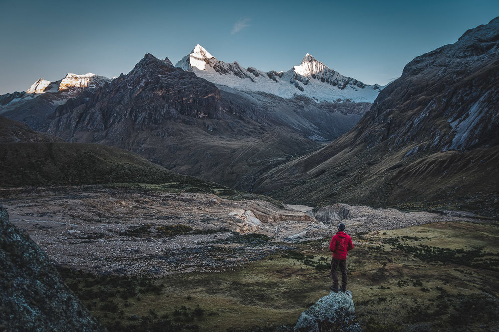 Sunrise view from our 2nd camp. The Santa Cruz Trek is one of the best things to do around Huaraz.