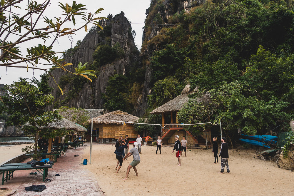 Playing volleyball on the Hideaway Island in Lan Ha Bay.