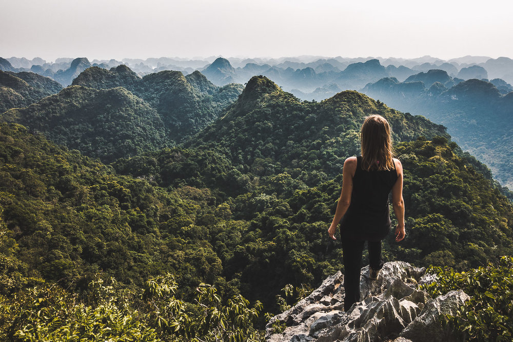 What a great viewpoint: Looking out onto the wild landscape of Cat Ba Island